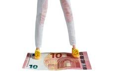 Standing on Euro Stock Photo