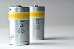 standing för batterier D Arkivfoto