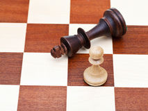 Standing and fallen chess king and pawn Royalty Free Stock Image