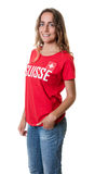 Standing female sports fan from Switzerland Royalty Free Stock Photos