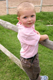 Standing on Fence. Young boy standing on wooden fence on a farm Stock Photo