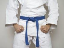 Standing fighter blue belt centered martial arts stock photos