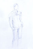 Standing figure woman, pencil sketch on paper. Standing figure woman, pencil sketch on paper Stock Images