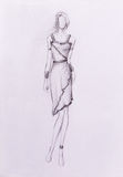 Standing figure woman, pencil sketch on paper. Standing figure woman, pencil sketch on paper Stock Photos
