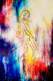 Standing figure woman, pencil sketch on paper. . Color effect. Standing figure woman, pencil sketch on paper. . Color effect Royalty Free Stock Image