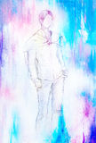 Standing figure woman, pencil sketch on paper. Watercolor background. Standing figure woman, pencil sketch on paper. Watercolor background Royalty Free Stock Photos