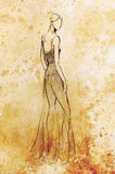 Standing figure woman, pencil sketch on paper. Watercolor background. Standing figure woman, pencil sketch on paper. Watercolor background Royalty Free Stock Photography