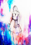 Standing figure woman, pencil sketch on paper. Watercolor background. Standing figure woman, pencil sketch on paper. Watercolor background Stock Image