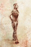 Standing figure woman, pencil sketch on paper. Watercolor background. Standing figure woman, pencil sketch on paper. Watercolor background Stock Photos
