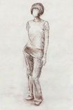 Standing figure woman, pencil sketch on paper. Watercolor background. Standing figure woman, pencil sketch on paper. Watercolor background Stock Images