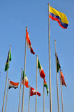 Standing flags of different countries. Different countries national flags standing together, shown as worldwide, country, and international communication or Stock Photos