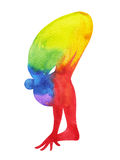 Standing Forward Bend Yoga Pose, 7 color chakra watercolor painting Royalty Free Stock Images