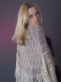 Woman with lace scarf Royalty Free Stock Image