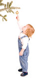 Standing girl with christmas branch and ball Stock Photo