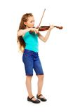 Standing girl holding string and playing violin Royalty Free Stock Images