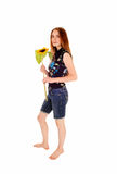 Standing girl with sunflower. Stock Photography