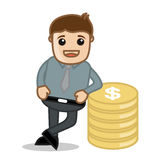 Standing with Gold & Money - Office and Business Cartoon Character Vector Illustration Concept & Pose Royalty Free Stock Photo