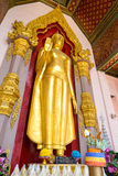 Standing golden buddha statue at entrance of Grand pagoda  in Na Royalty Free Stock Photography
