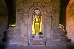 Standing golden Buddha statue in Myanmar Stock Photography