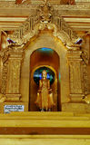 Standing golden Burmese buddha. Stock Photos