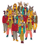 Standing group people with cats and dogs heads Royalty Free Stock Photos