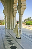 Standing on guard. In Rabat at the mausoleum of Mohammed V this guard is monitoring the building stock images