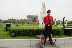 Standing guard at City Wall Xian Royalty Free Stock Image