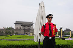Standing guard at City Wall Xian Royalty Free Stock Images