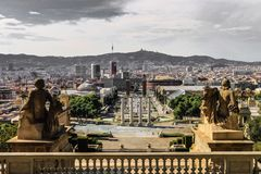 Standing Guard. The view of Barcelona seen from the Museum Stock Photography