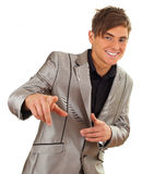 Standing happy young man Stock Photo