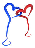 Standing Hearts. Standing 3d wire heart shapes blue and red, linked together, isolated Stock Photo