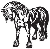 Standing heavy draft horse tribal tattoo. Standing heavy draft horse Black and white tribal tattoo style vector illustration Royalty Free Stock Photography