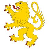 Standing heraldic lion Stock Photo