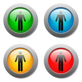 Standing human icon set on glass buttons Royalty Free Stock Image