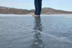 Standing on Ice Stock Image