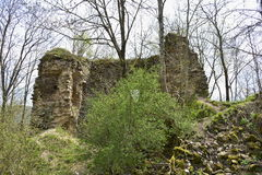 A standing interior wall of the Bologa medieval fortress. Royalty Free Stock Photos