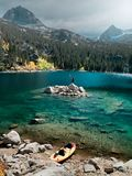Standing on an island on South Lake in Aspendell on a fall day. In the Sierra Nevada royalty free stock photography
