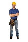 Standing isolated young manual worker. Isolated standing young worker on white background Stock Photos