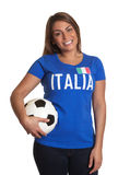 Standing italian girl with football Royalty Free Stock Photo