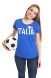 Standing italian woman with ball Royalty Free Stock Photography