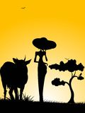 Standing lady with cow. On gradient background Stock Images