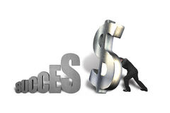 Standing large money symbol for success Royalty Free Stock Image