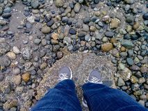 Standing on a large stone on a rocky shore. Standing with sneakers on a large boulder along a stone shore Stock Photography