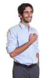 Standing latin guy with beard in dreams Royalty Free Stock Photography
