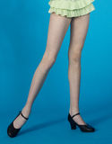 Standing Legs in Pantyhose and Black Heels Royalty Free Stock Image