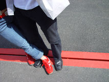 Standing on the line. Pair in love on the line Royalty Free Stock Images