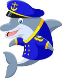 Standing little cartoon Dolphin using uniform Captain Royalty Free Stock Image