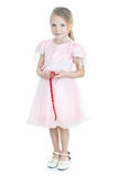 Standing Little Girl In Pink Dress Royalty Free Stock Images