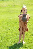 Standing little indian girl with pitcher Royalty Free Stock Image