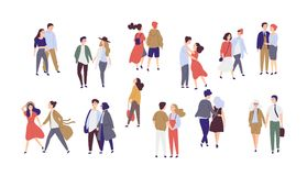 Standing lonely single girl surrounded by happy romantic couples walking together or pairs of men and women on date stock illustration